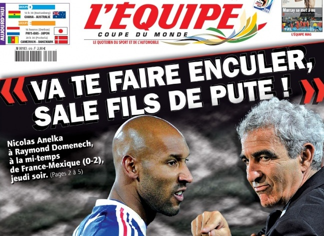 L'Equipe disclosed Anelka's insults