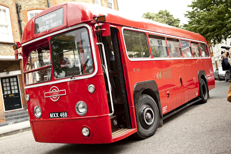 The vintage red bus that ferried the East London Players across town for the tournament