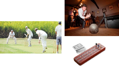 British games : Cricket, skittles and cribbage