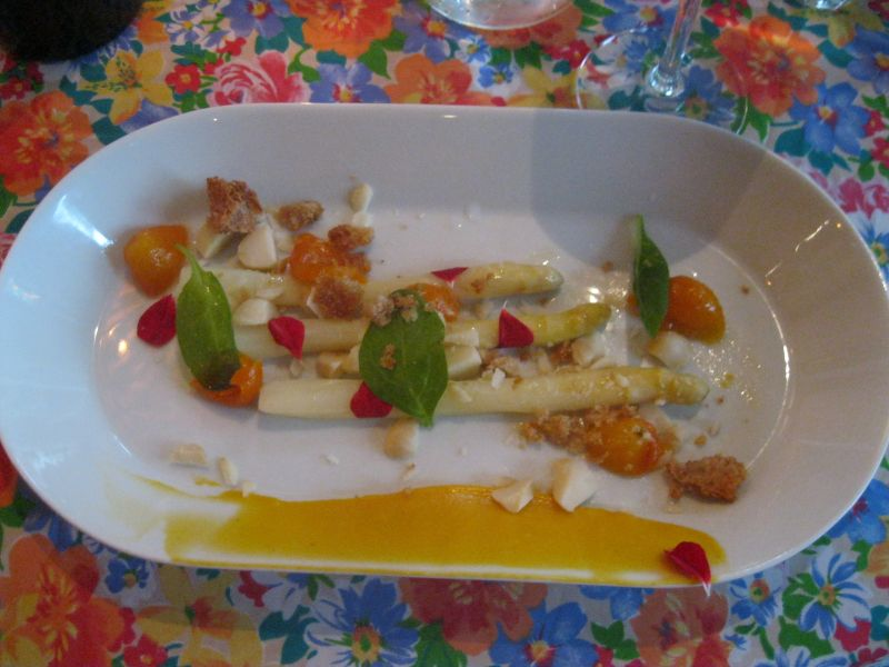 White asparagus and kumquat coulis