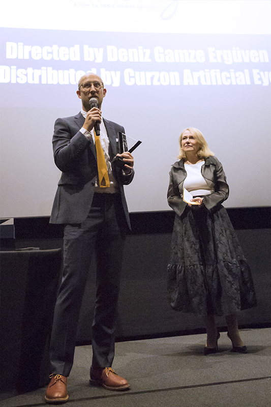 Danny James, from Curzon Artificial Eye,  received the 3rd prize for the film Mustang